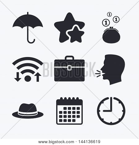 Clothing accessories icons. Umbrella and headdress hat signs. Wallet with cash coins, business case symbols. Wifi internet, favorite stars, calendar and clock. Talking head. Vector