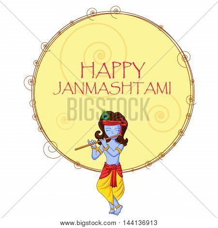 ector illustration of Krishna with flute on Happy Janmashtami background