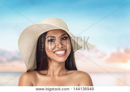 Beautiful Young Asian Woman Portrait At Sea Beach