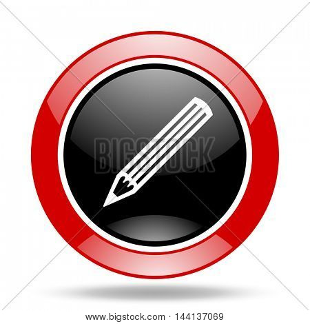 pencil round glossy red and black web icon