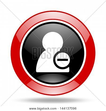 remove contact round glossy red and black web icon