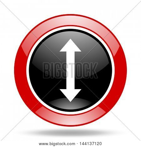 arrow round glossy red and black web icon