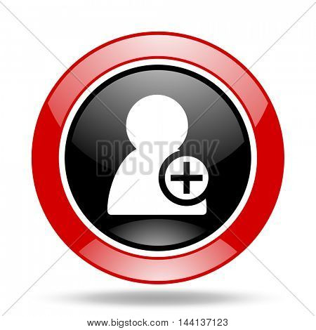 add contact round glossy red and black web icon