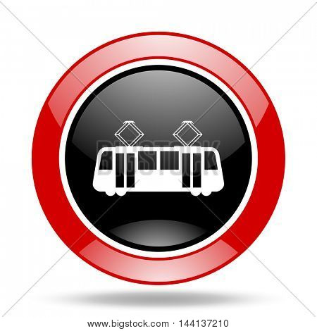 tram round glossy red and black web icon