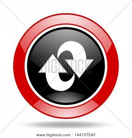 rotation round glossy red and black web icon