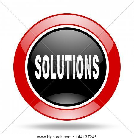 solutions round glossy red and black web icon