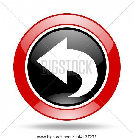 back round glossy red and black web icon