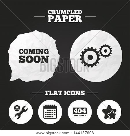 Crumpled paper speech bubble. Coming soon icon. Repair service tool and gear symbols. Wrench sign. 404 Not found. Paper button. Vector