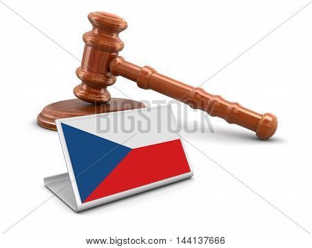 3D Illustration. 3d wooden mallet and Czech flag. Image with clipping path