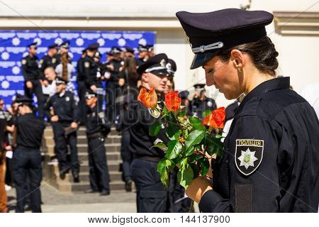 Uzhgorod Ukraine - August 25. 2016: The ceremony of awarding titles to inspectors of police officers.