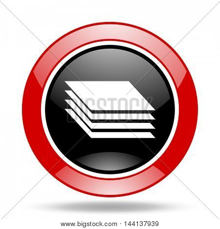 layers round glossy red and black web icon