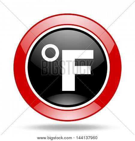 fahrenheit round glossy red and black web icon