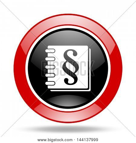 law round glossy red and black web icon