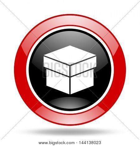 box round glossy red and black web icon