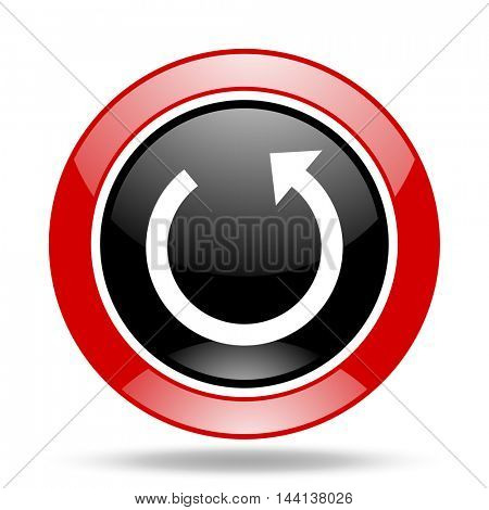 rotate round glossy red and black web icon