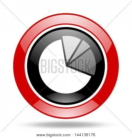 diagram round glossy red and black web icon