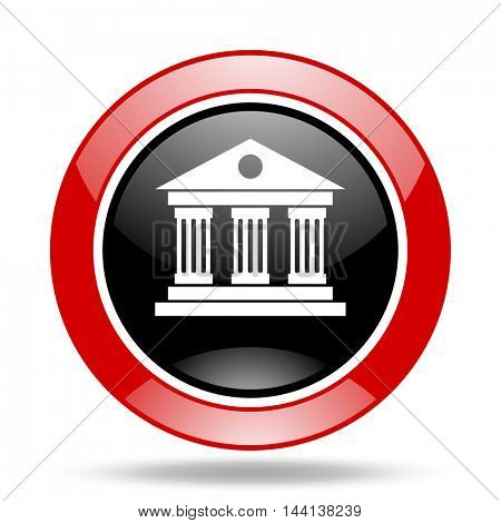 museum round glossy red and black web icon
