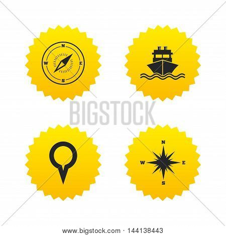 Windrose navigation compass icons. Shipping delivery sign. Location map pointer symbol. Yellow stars labels with flat icons. Vector