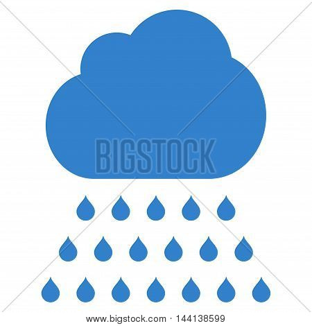 Rain Cloud icon. Vector style is flat iconic symbol, cobalt color, white background.