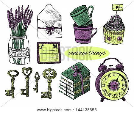 Set of vintage things on white background. Vintage keys, lavender, envelope, letter, cupcakes, cups, books, alarm clock