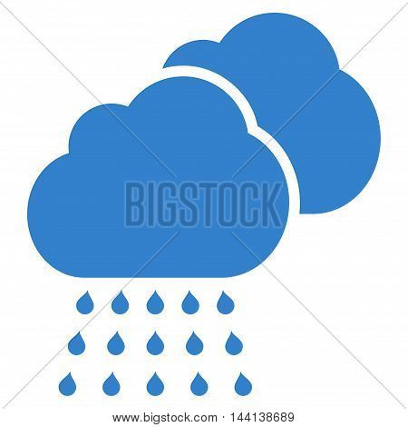 Rain Clouds icon. Vector style is flat iconic symbol, cobalt color, white background.
