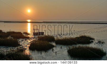 Evening in Wadden Sea near Greetsiel at North Sea,East Frisia,Germany