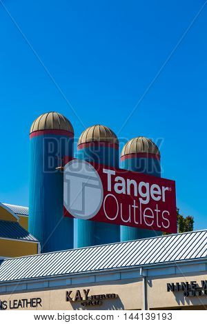 Lancaster PA - August 20 2016: The Tanger Outlets in Lancaster County is a popular destination for shoppers seeking a diverse mix of stores.