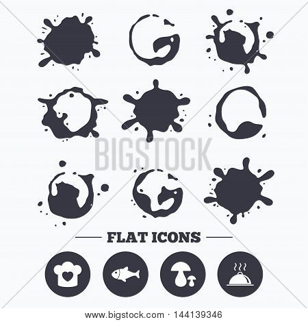Paint, coffee or milk splash blots. Chief hat with heart and cooking pan icons. Fish and boletus mushrooms signs. Hot food platter serving symbol. Smudges splashes drops. Vector