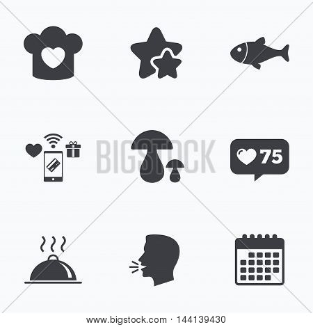 Chief hat with heart and cooking pan icons. Fish and boletus mushrooms signs. Hot food platter serving symbol. Flat talking head, calendar icons. Stars, like counter icons. Vector