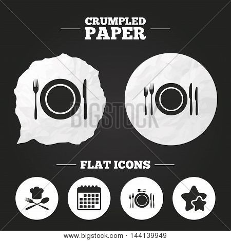 Crumpled paper speech bubble. Plate dish with forks and knifes icons. Chief hat sign. Crosswise cutlery symbol. Dining etiquette. Paper button. Vector