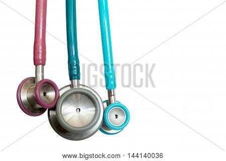stethoscope many color a small side for check children on white background. objects with clipping paths.