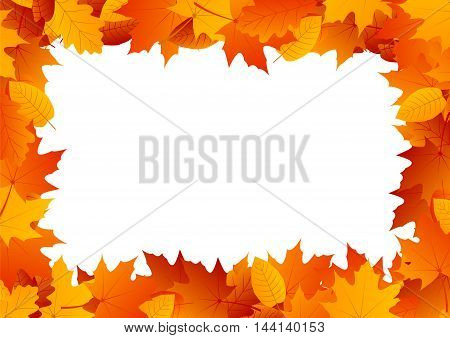 Decorative vertical frame made of autumn yellow and red leaves with the place for text and other contents, maple leaves, oak leaves and poplar leaves