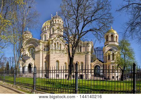 Riga Latvia - April 21 2016: Russian orthodox cathedral of the Nativity of Christ in Riga Latvia as seen on 21st of April 2016.