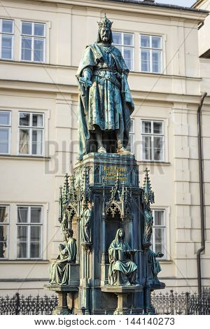 Prague Czech Republic - May 25 2016: King Charles IV monument at Crusaders' Square in Prague.