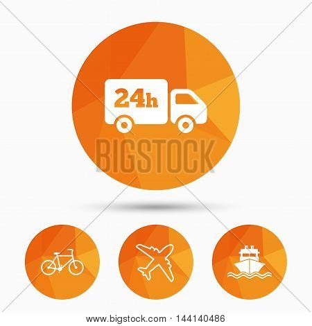 Cargo truck and shipping icons. Shipping and eco bicycle delivery signs. Transport symbols. 24h service. Triangular low poly buttons with shadow. Vector