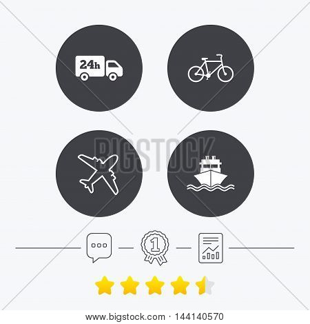 Cargo truck and shipping icons. Shipping and eco bicycle delivery signs. Transport symbols. 24h service. Chat, award medal and report linear icons. Star vote ranking. Vector