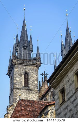 Church of Mother of God (Our Lady) before Tyn was built in 15th century in late gothic style. The church's towers are 80 m high and topped by four small spires.
