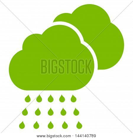 Rain Clouds icon. Vector style is flat iconic symbol, eco green color, white background.
