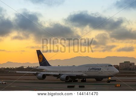 LOS ANGELES, August 19: Lufthansa Airlines Boeng 747 shown taxing at LAX on August 19, 2014 in Los Angeles.