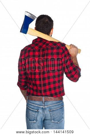 Lumberjack With Plaid Shirt From Behind