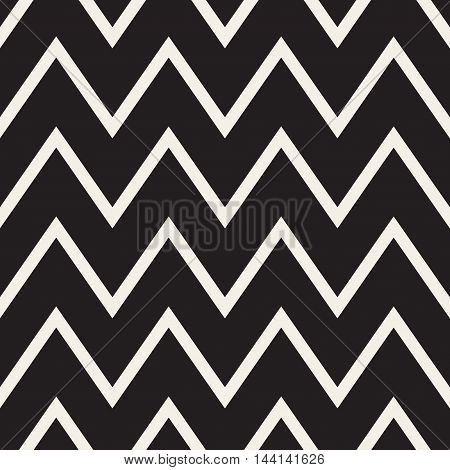 Vector Seamless Black and White ZigZag Horizontal Lines Geometric Pattern. Abstract Geometric Background Design