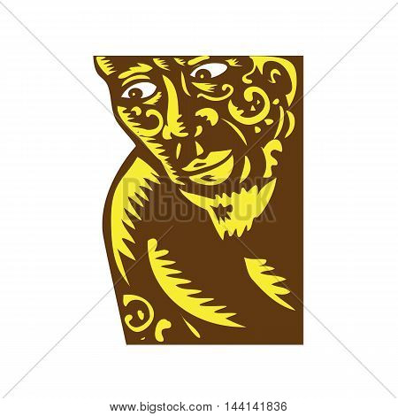 Illustration of Samoan legend god Tagaloa peeking looking done in retro woodcut style.