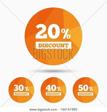 Sale discount icons. Special offer price signs. 20, 30, 40 and 50 percent off reduction symbols. Triangular low poly buttons with shadow. Vector