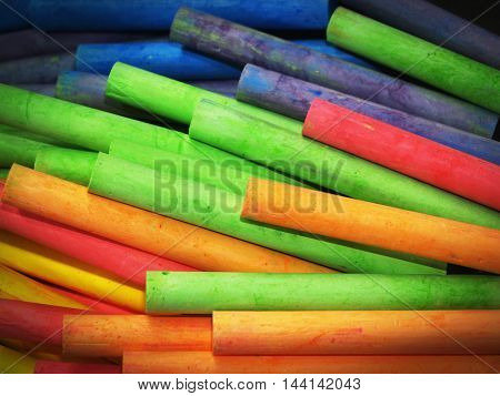 Colored Chalk Pile Texture Background.