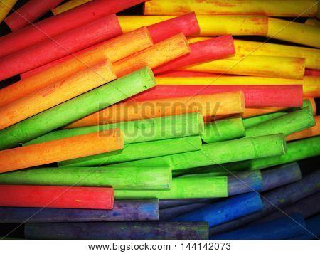 Colored Chalks Pile Bulk Texture.