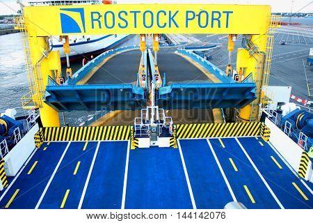 Rostock - aug 20. 2016 - Ferry boat for car transport in rostock port.