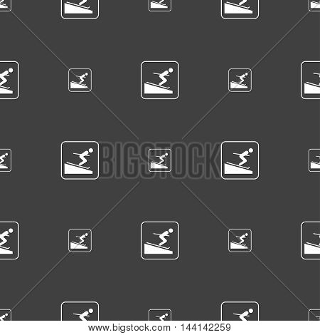 Skier Sign. Seamless Pattern On A Gray Background. Vector