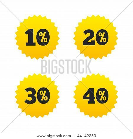 Sale discount icons. Special offer price signs. 10, 20, 30 and 40 percent off reduction symbols. Yellow stars labels with flat icons. Vector