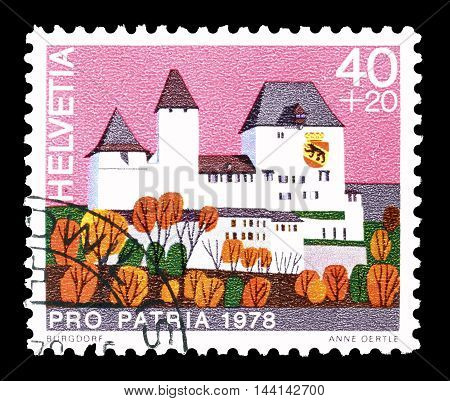 SWITZERLAND - CIRCA 1978 : Cancelled postage stamp printed by Switzerland, that shows Burgdorf castle.