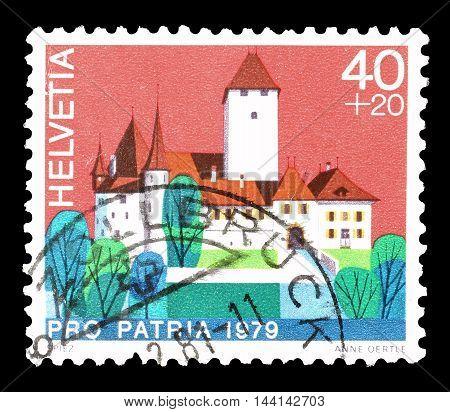 SWITZERLAND - CIRCA 1979 : Cancelled postage stamp printed by Switzerland, that shows Spiez castle.